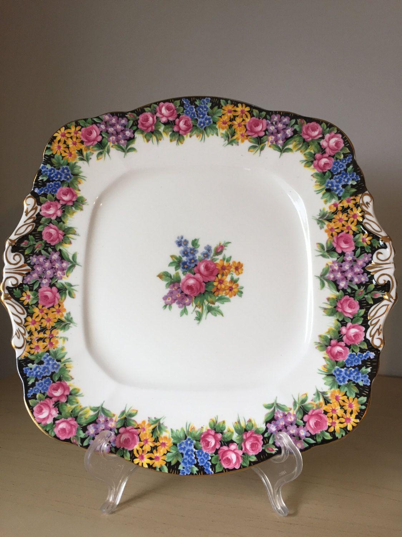 Paragon  Old English Garden  Vintage Cake Plate Black Dessert Tray Multi- & Paragon