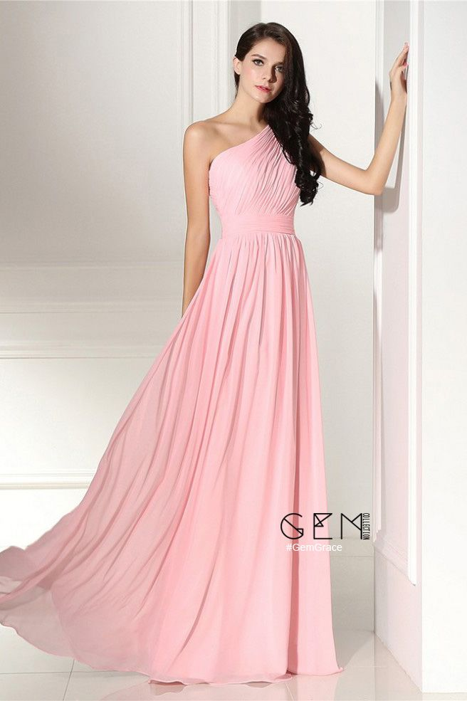 Simple Elegant Pleated One Shoulder Pink Formal Dress #LG0304 ...