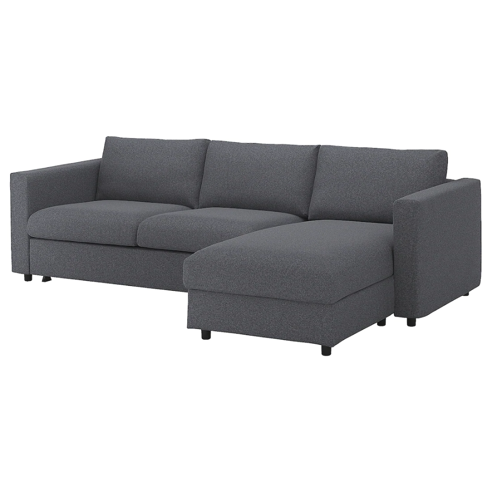 Vimle With Chaise Longue Gunnared Medium Grey 3 Seat Sofa Bed Ikea In 2020 Sofa Bed With Chaise Sofa Bed With Storage Sofa Bed Frame