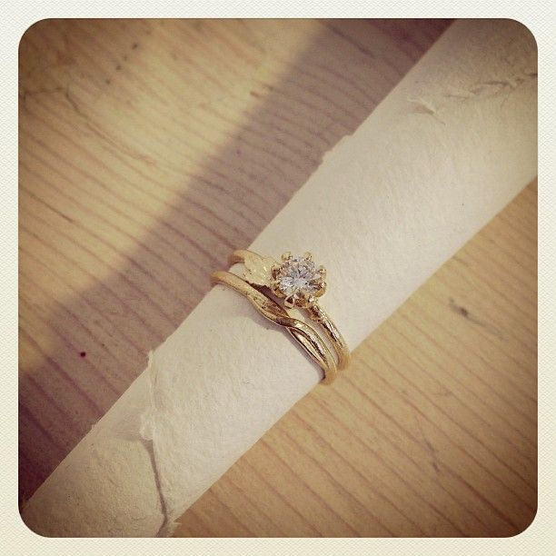 Seruni Diamond Ring and matching Wedding Band Available from the