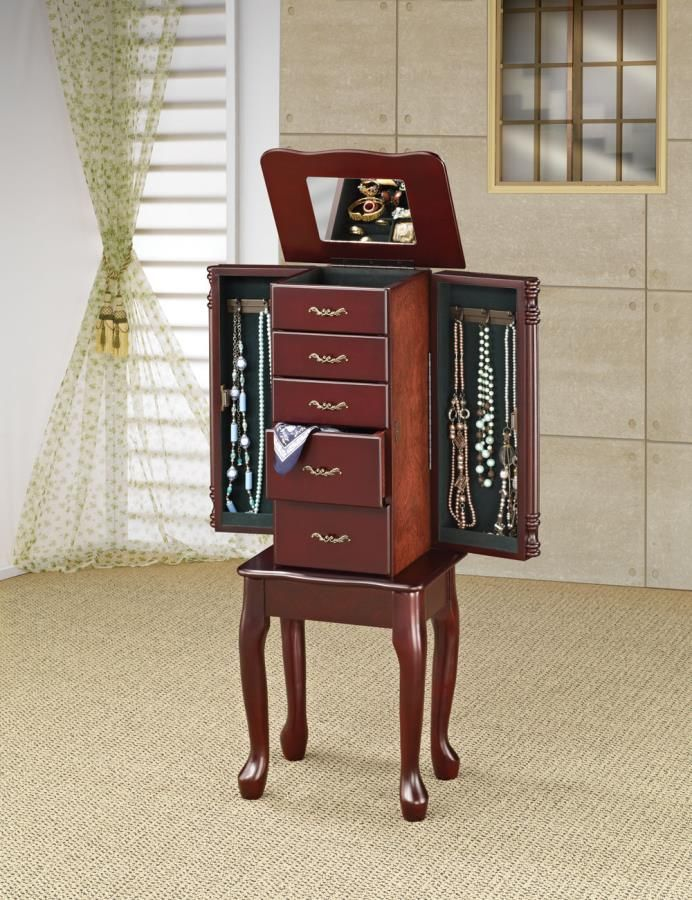 Cherry Finish Queen Anne Jewelry Armoire by Coaster httpwww