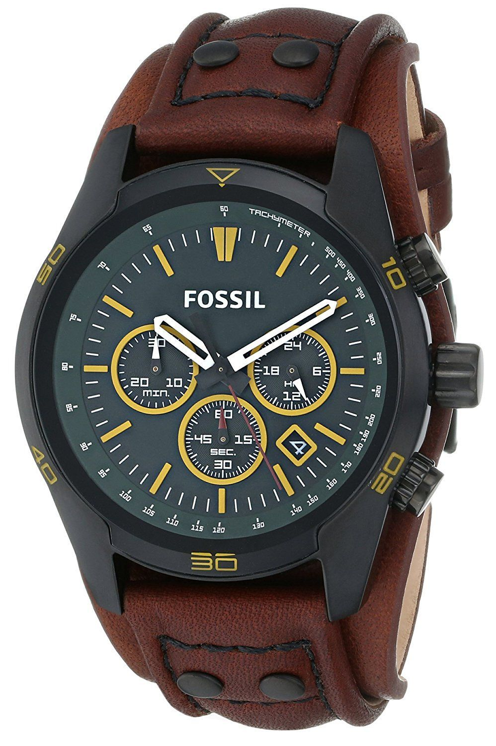 5fef3a3e8 Amazon.com: Fossil Men's CH2923 Coachman Chronograph Leather Watch - Brown  with Green Dial: Watches