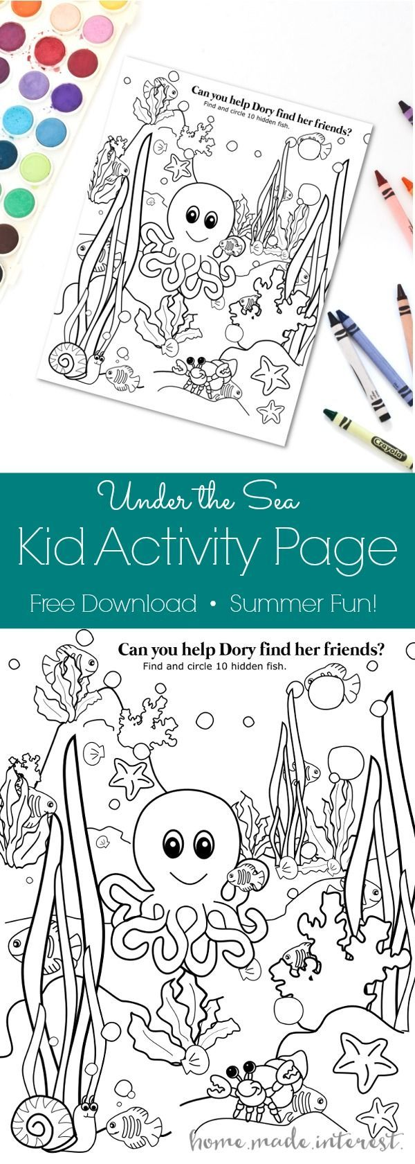 Under the Sea Kid Activity Page | Finding dory, Kid activities and ...
