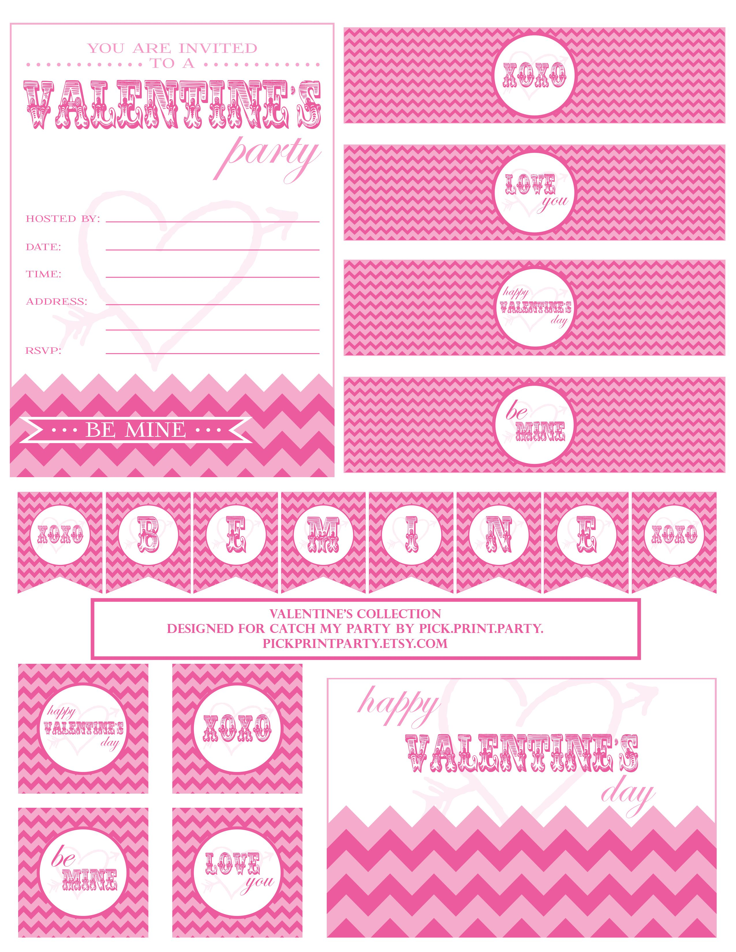 FREE Valentine\'s Day Party Printables from Pick.Print.Party. | Water ...
