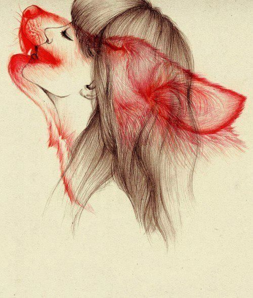 She Wolf; Red Ink and Black Ink Drawing.