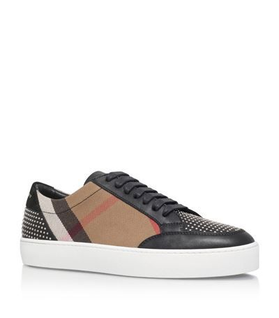 BURBERRY Salmond Studded Check Sneakers. #burberry #shoes #