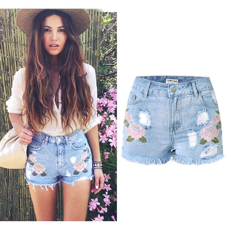 cd688b58922c Denim Shorts Floral High Waist Jeans Short Femme Frayed Shorts For Women  Summer shorts Fashion 2017 Price: 33.90 & FREE Shipping #fashionable  #stylish
