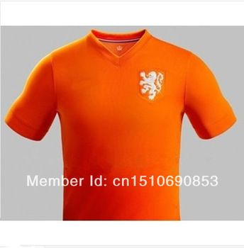 New 2014 World Cup Netherlands Home Orange Soccer Jerseys Top 3A+++  Thailand Quality Holland Soccer Uniforms