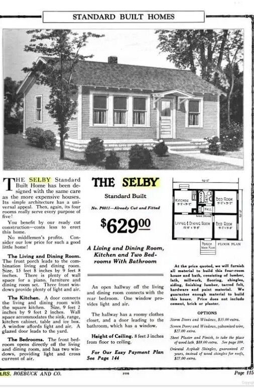 Sears Selby 1925 6011 1926 P6011 1927 1928 C6021 1929 Vintage House Plans Architectural Prints Pretty House