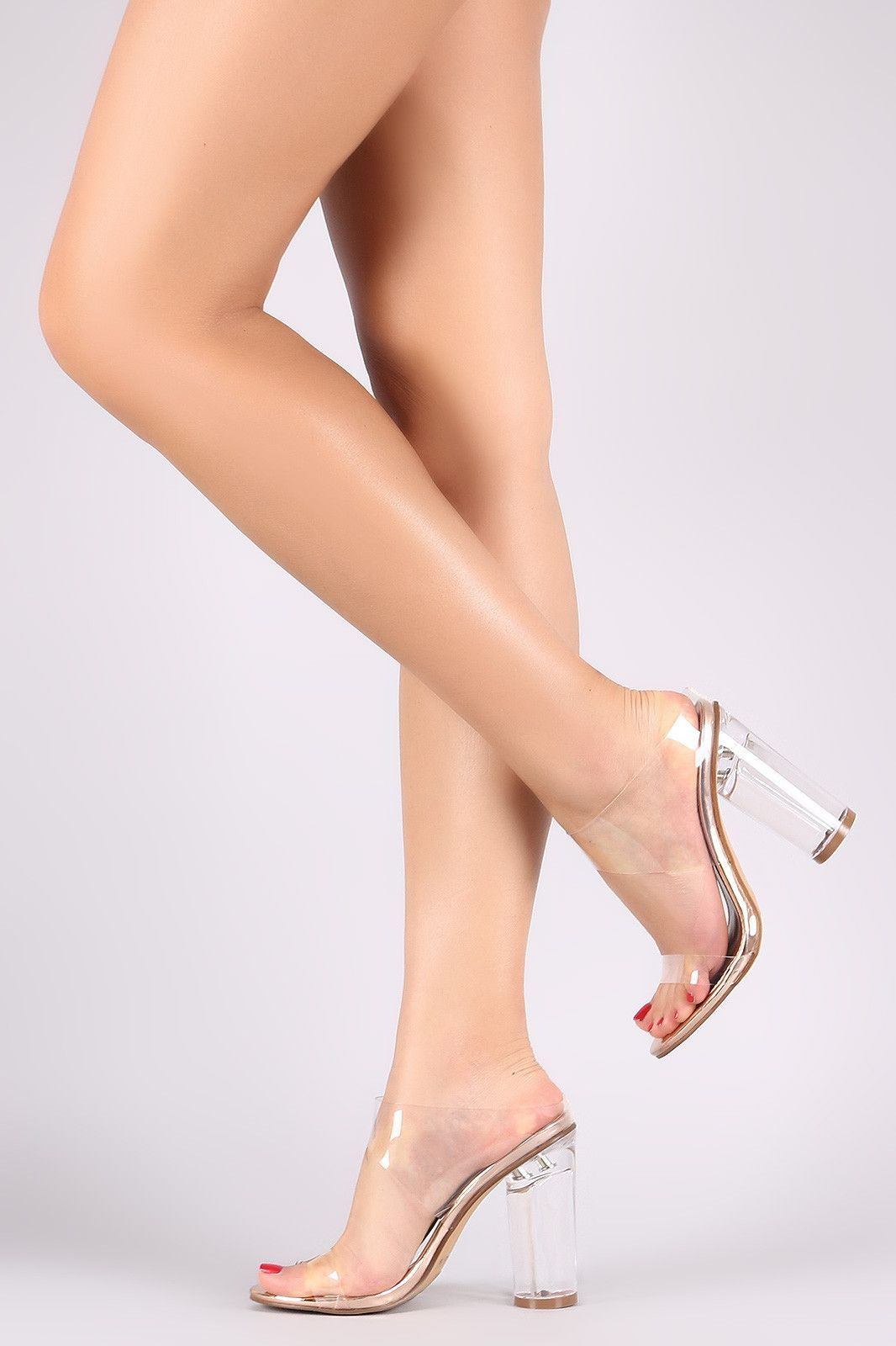 Transparent Open Toe Mule Round Perspex Heel  7xpwsuU0