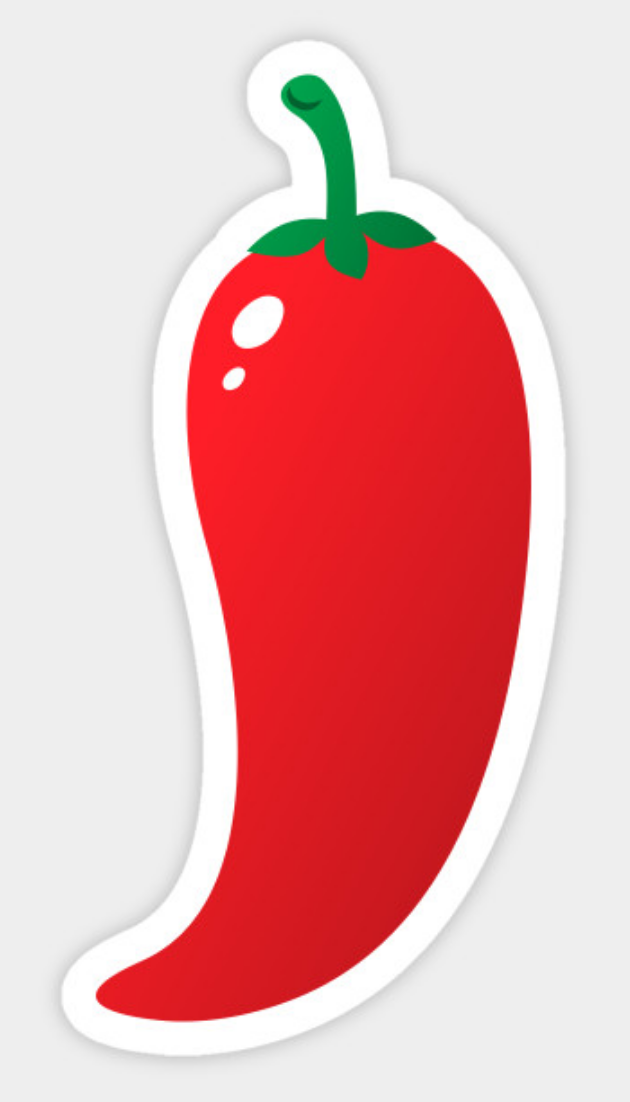 cb9aaf437c57 Sticker featuring a cartoon illustration of a hot, red jalapeno ...