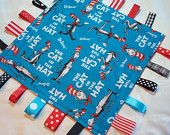 Blue and Red Minky Tag Blanket- Dr. Seuss Cat in the Hat
