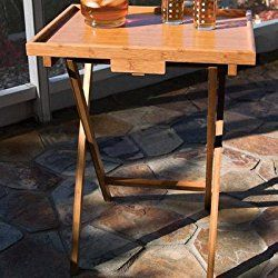 Lipper International Individual Tv Table With Lip Bamboo