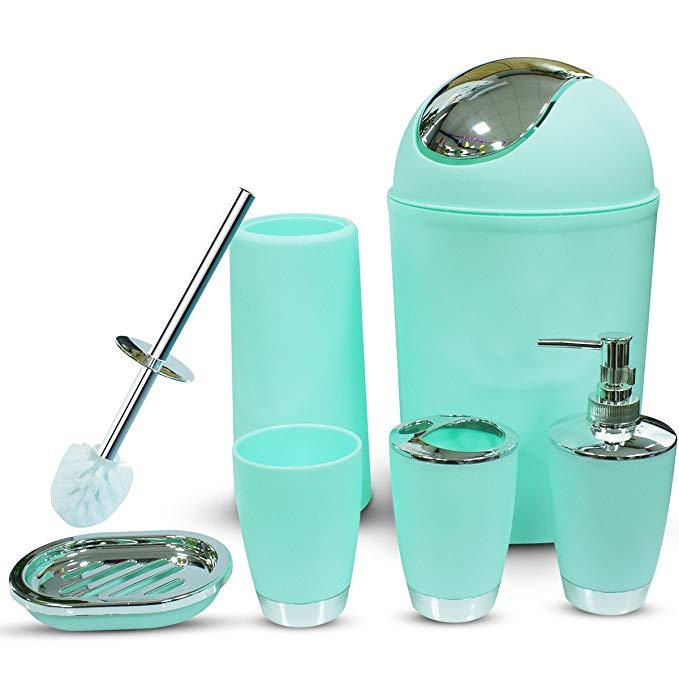 Amazon Com Mint Green Bathroom Accessories Set 6 Pieces Plastic Bathroom Accessories Toothb Green Bathroom Accessories Bathroom Accessories Sets Mint Bathroom