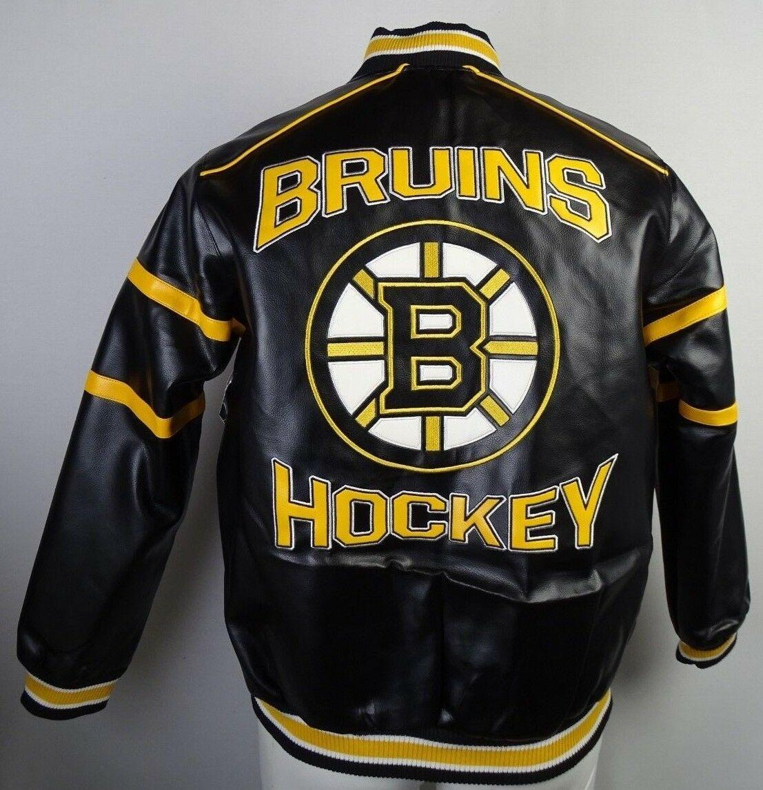 Boston Bruins Men S Giii Faux Leather Zip Jacket Nhl Boston Bruins Bruins Boston Bruins Hockey