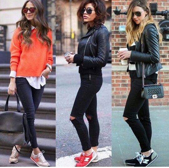 Zapatos deportivos con jeans negros   Moda deportiva   Moda