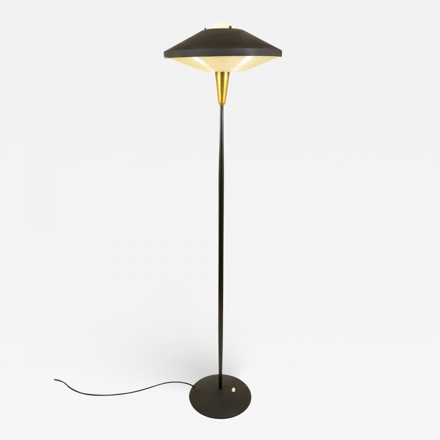 Italienische Küchenlampen Black Metal And Brass Floor Lamp By Louis Kalff For Philips 1950s