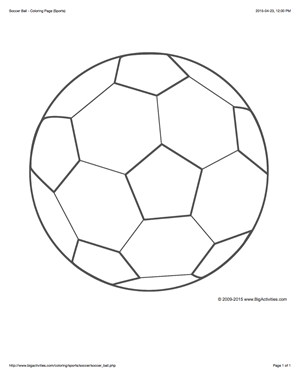 Sports coloring page with a picture of a large soccer ball