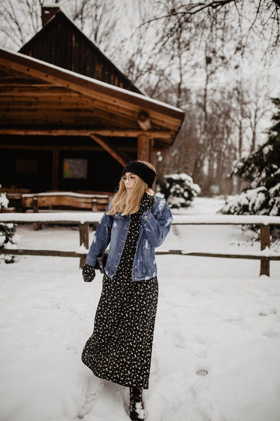 Sukienka Maxi W Kwiaty Rozalia Maxi Outfits Maxi Dress Denim Jacket Winter