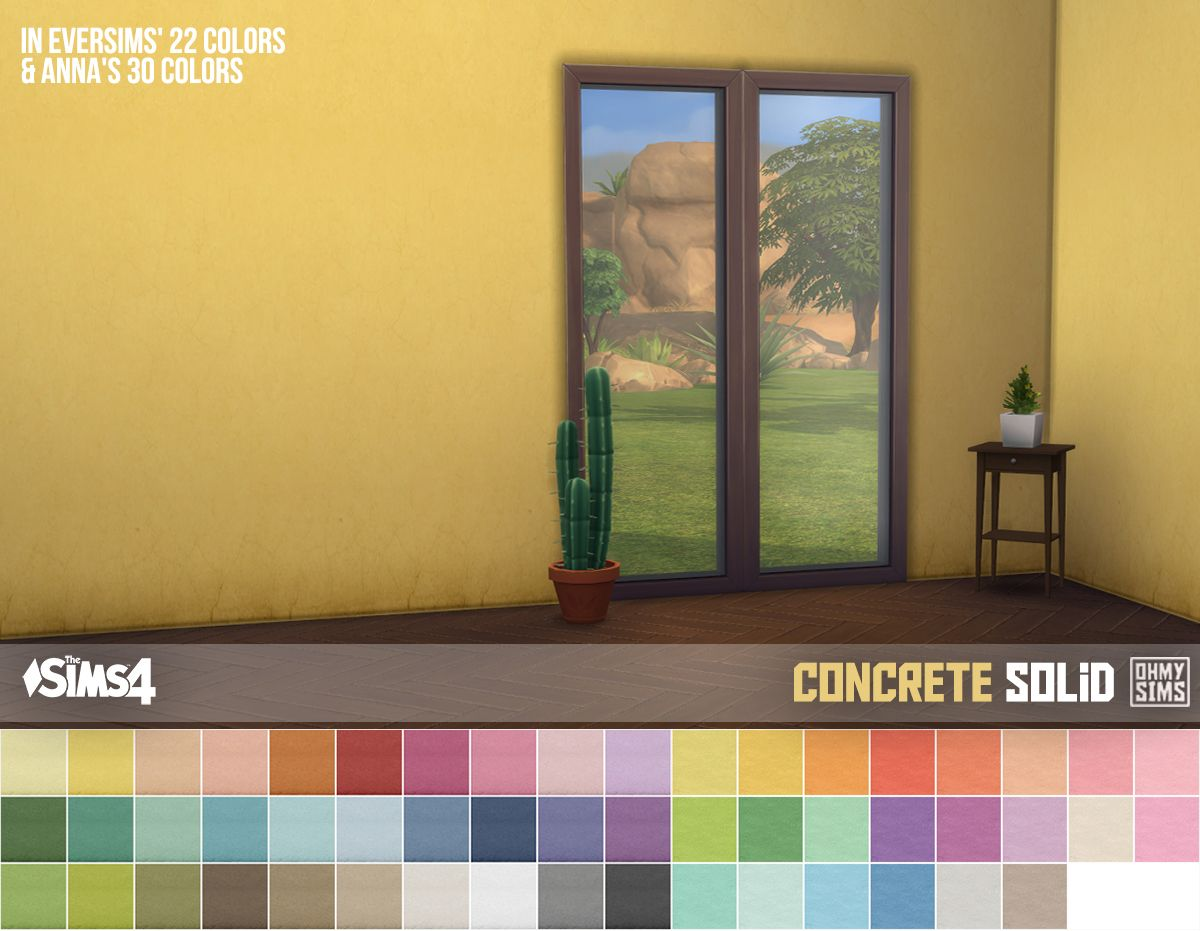 Oh My Sims 4 3 Sets Of Concrete Wallpaper Works With All