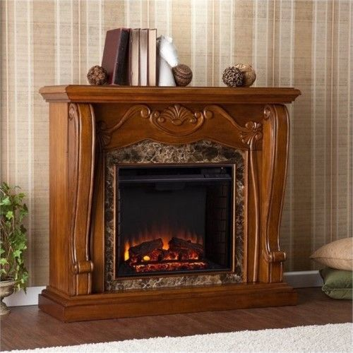 Bowery Hill Electric Fireplace In Walnut Brown Electric