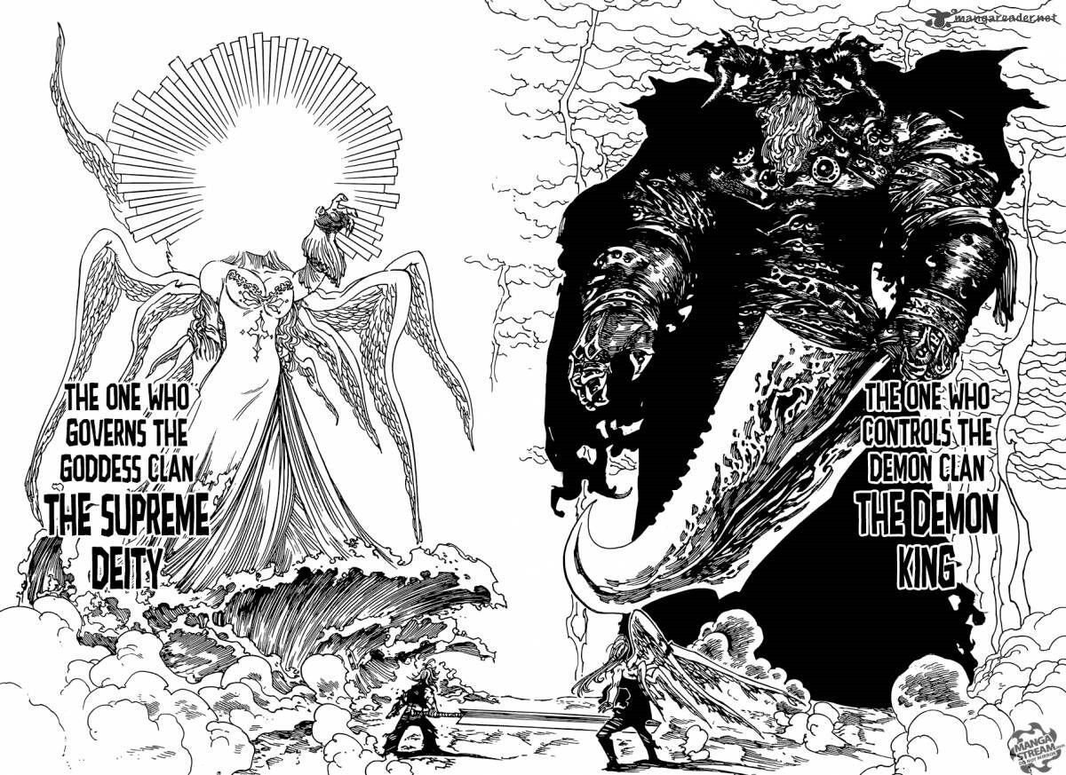 """Résultat de recherche d'images pour """"meliodas and elizabeth vs. demon king and supreme deity"""""""