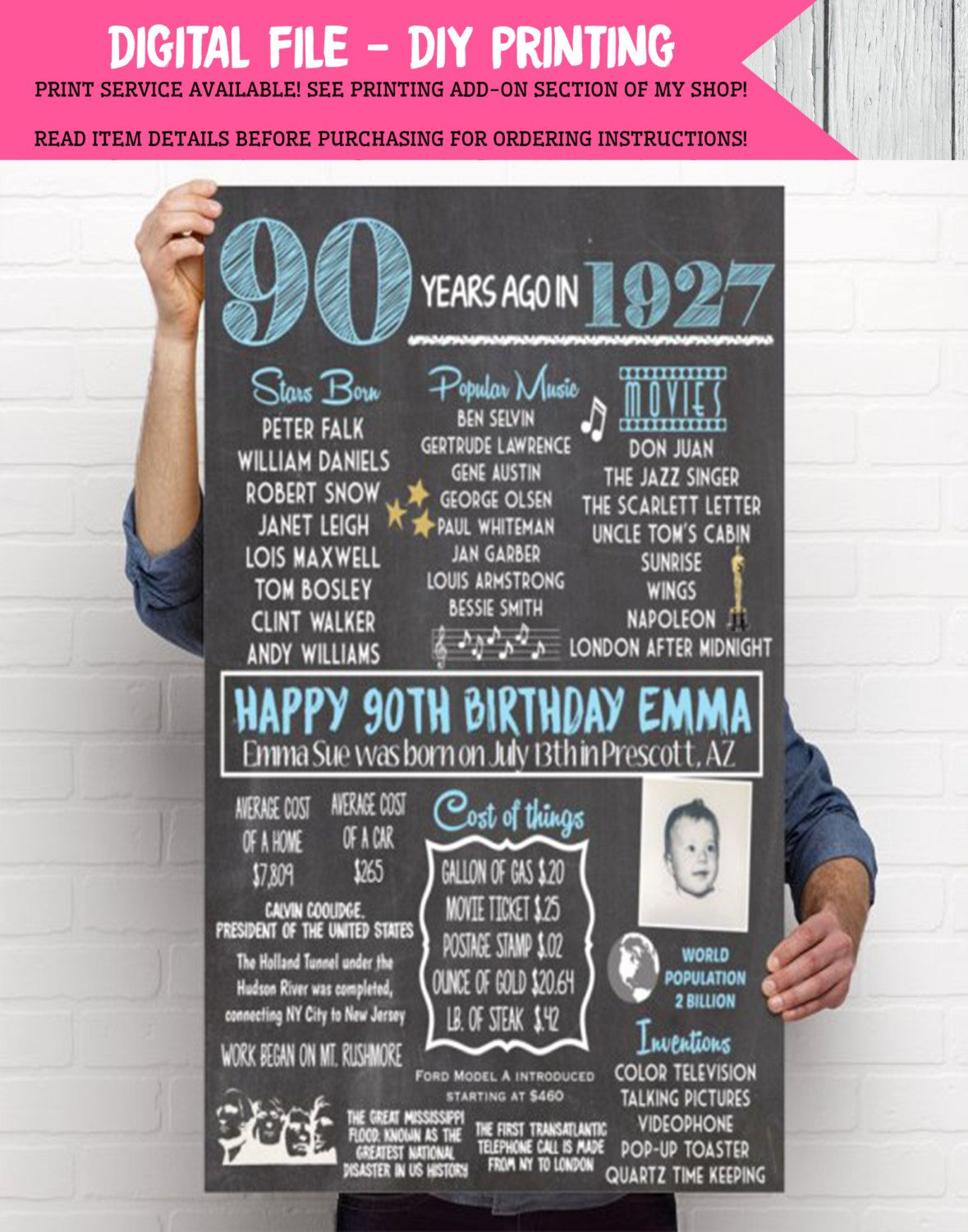 1927 90th Decor Personalized Birthday Chalkboard Sign With Photo Digital File