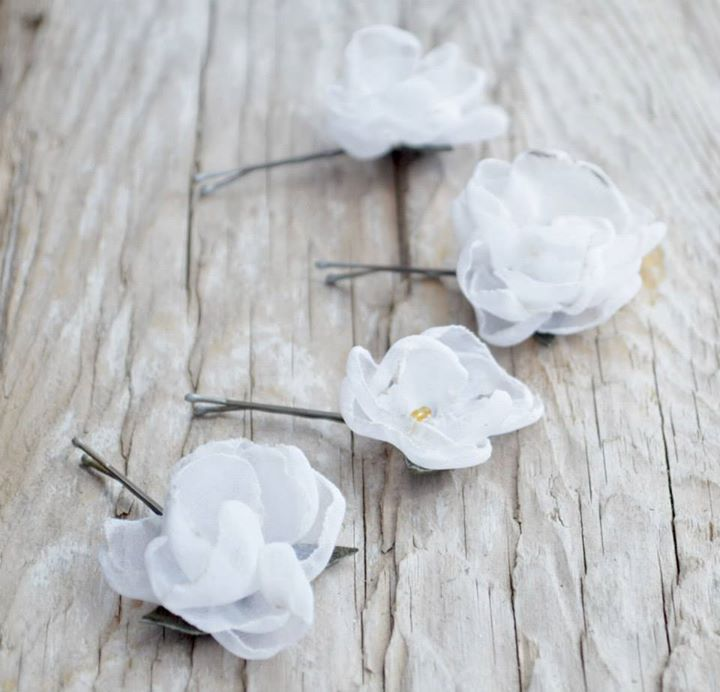 Blossom Hair Pins with leather leaves