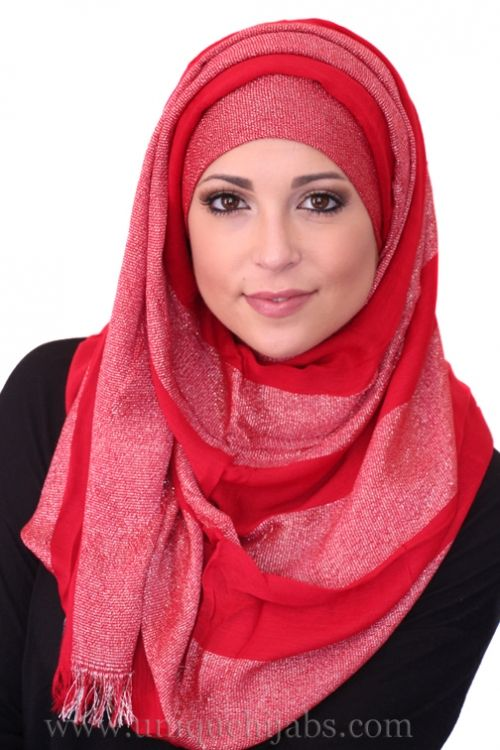 Long Hijab Striped Shimmer-Red