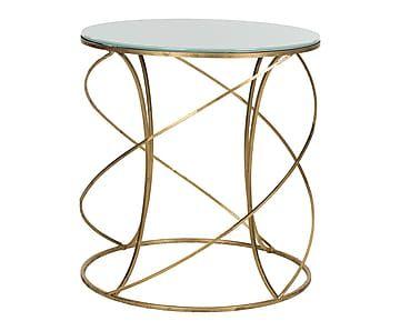 Table d'appoint CAGNEY fer et verre, doré et blanc - L51