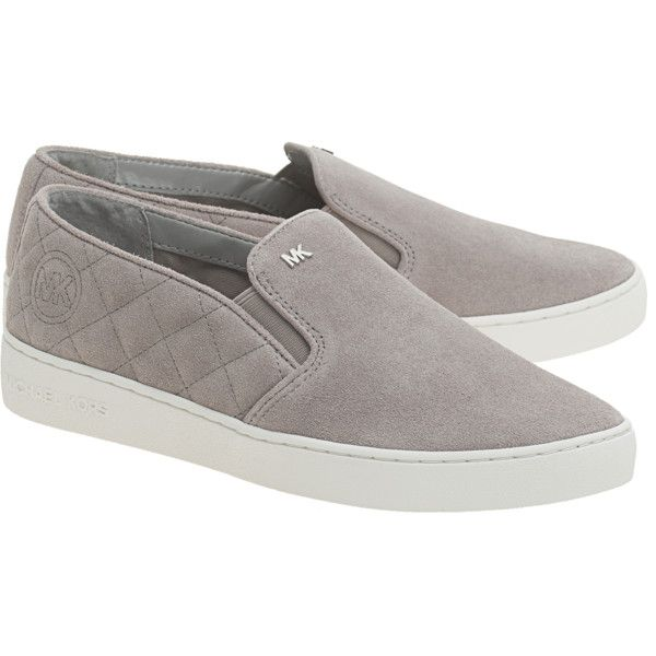 0ef20770278 MICHAEL Michael KORS Keaton Quilted Grey    Suede leather slip ons  featuring polyvore women s fashion shoes suede slip on shoes gray shoes  pull on shoes ...