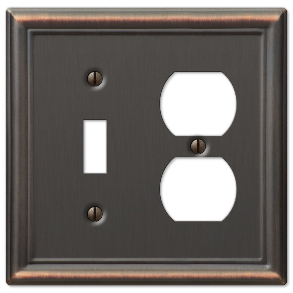 Chelsea Aged Bronze Steel 1 Toggle 1 Duplex Wallplate Plates On Wall Steel Wall Copper Wall