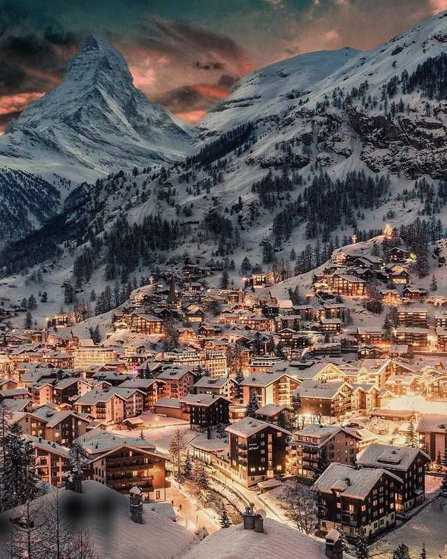 A glowing, magical winter night, Zermatt, Switzerl