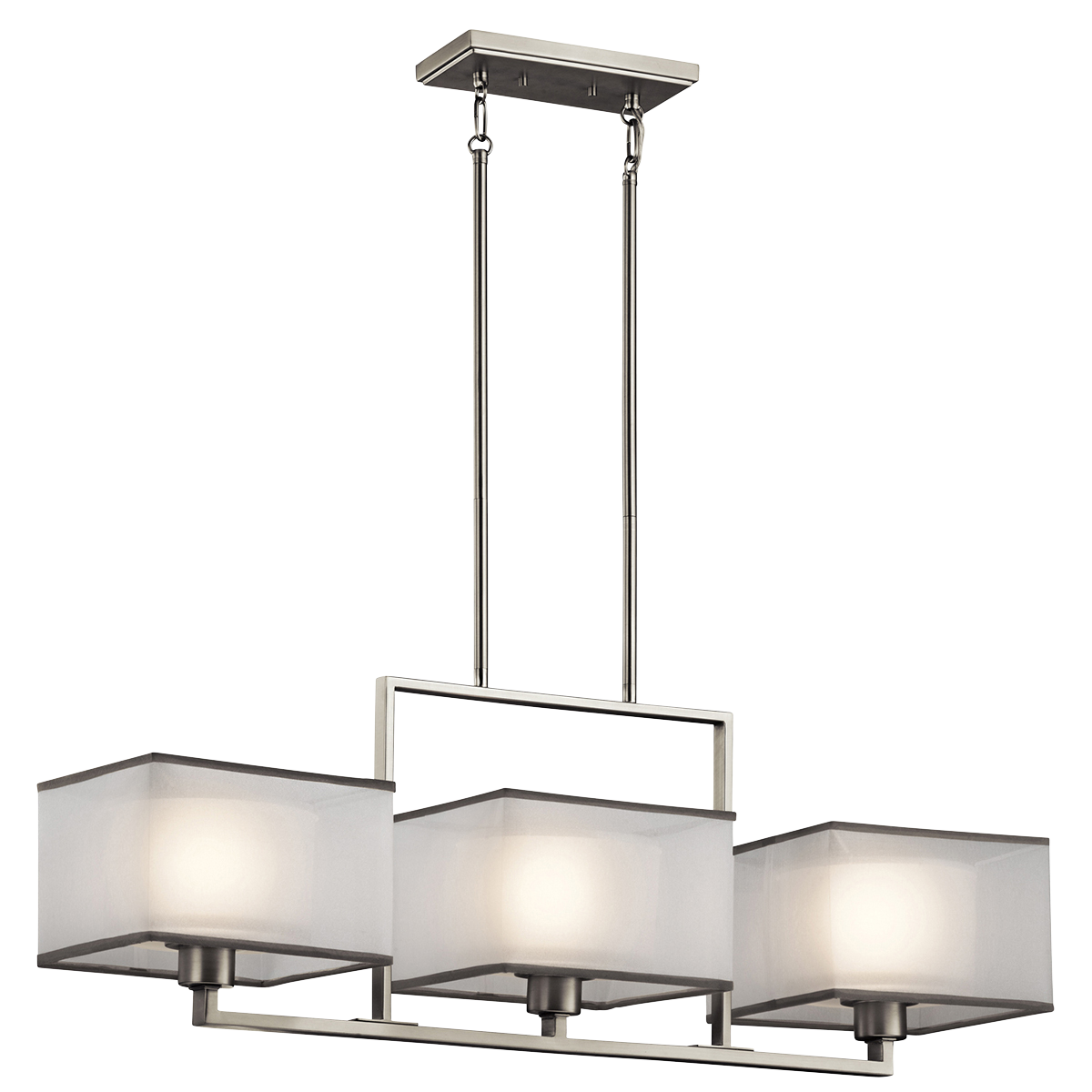 Brushed Nickel Kitchen Light Fixtures Kichler 3 Light Chandelier Linear Kailey Collection Tucson