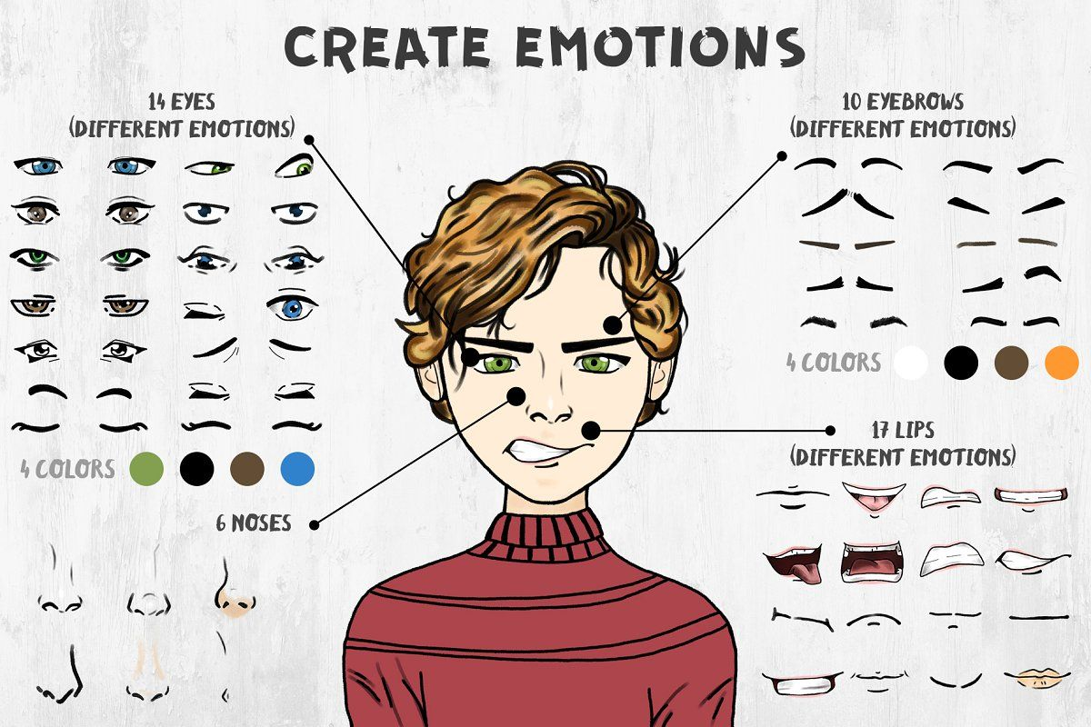 Ad: Character Creator (Boys) by Alina Sh on @creativemarket. It's Character Creator. That's what you need to make your character. Individual elements you can use for creating greeting cards, #creativemarket