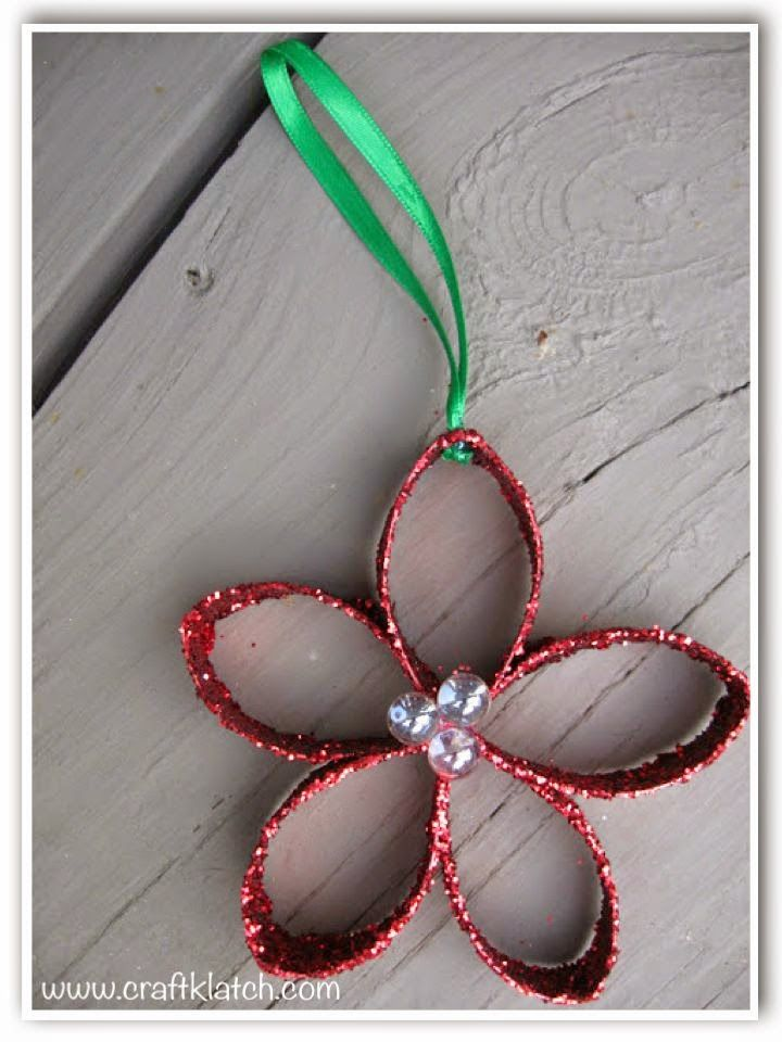 Christmas Flower Ornament Recycling Craft DIY #recycledcrafts