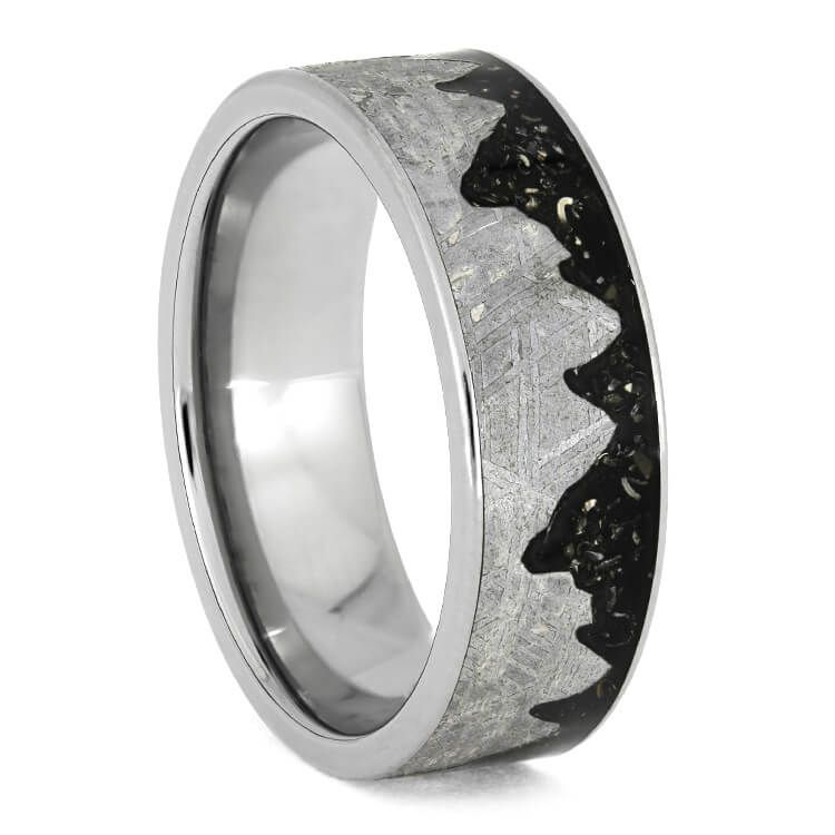 Meteorite Mountain Ring With Black Stardust Anium Wedding Band 3750