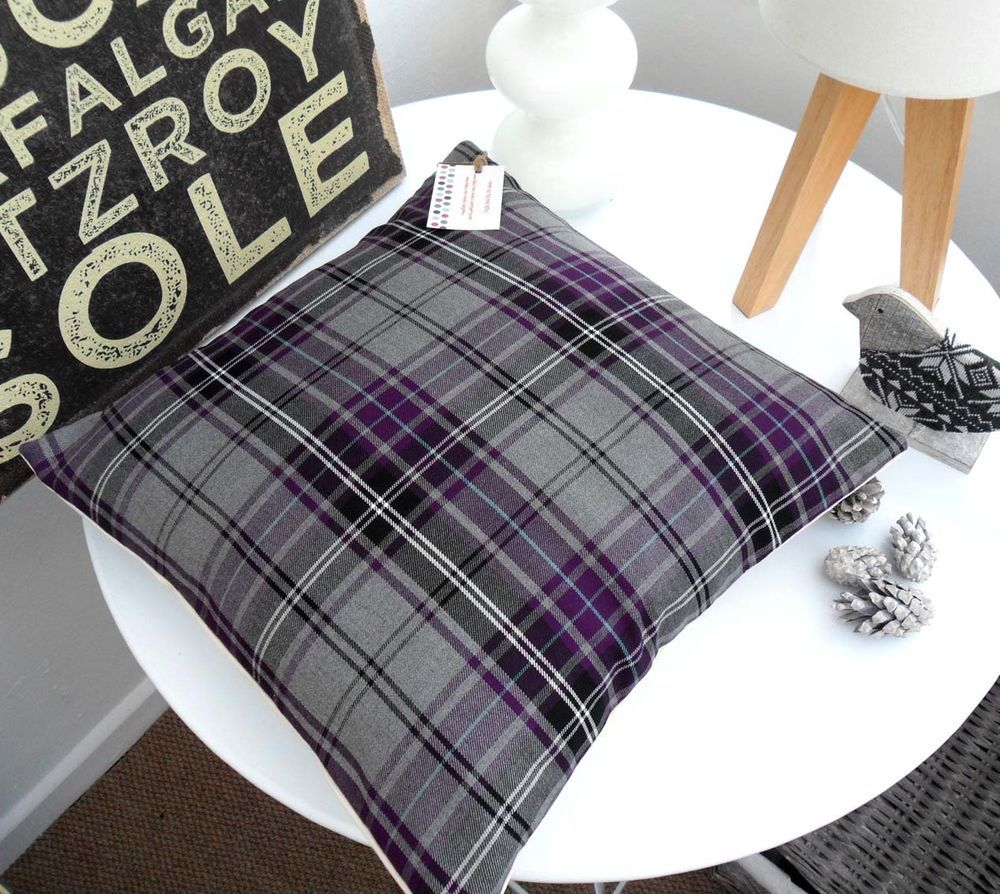 Tartan Cushion Cover Purple Lilac Grey Check Plaid Nordic