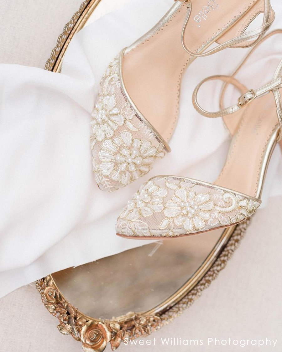 Low Heel Elegant Gold Wedding Shoes For Bridesmaids And Brides Bella Belle Shoes Madeline Lace Gold Wedding Shoes Gold Evening Shoes Wedding Shoes Bridesmaid
