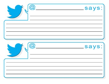 A Pdf Colour Template With Two Twitter Feeds Per 8 5 By 11 Inch Paper This Is An Excellent Resourc Student Centered Learning Bubble Template Twitter Template