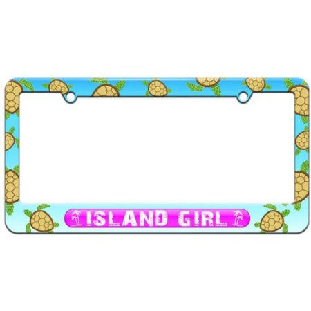 Island Girl Pink, Beach Palm Trees License Plate Tag Frame, Multiple ...