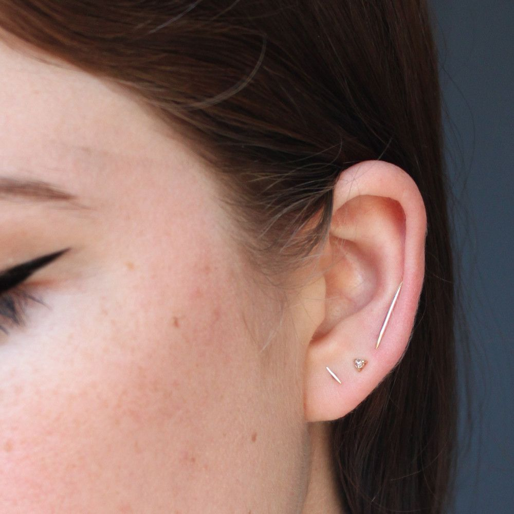 Second ear piercing ideas  Big Secret Ear Climber gold  Whisper Bald hairstyles and Gold
