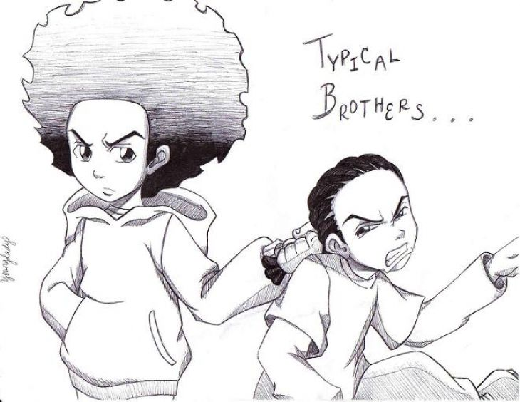 huey picking out on riley in the boondocks coloring page