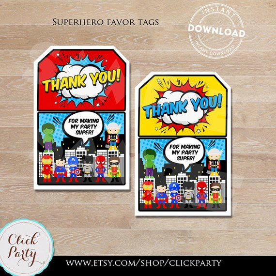 Superhero Party Superhero Birthday Party Superhero Birthday Party Favor Tags Superhero Gift Tags Gift Tags Instant Download