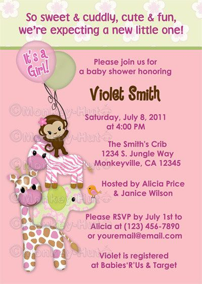 Monkey Baby Shower Invitations Girls Jungle Jill Girl Monkeys Giraffe  Elephant Zebra Animals Safari Personalized DIGITAL INVITATION #045