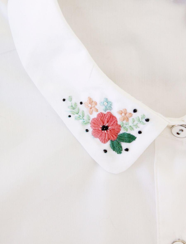 Pretty Floral Embroidered Collar #embroiderypatternsbeginner