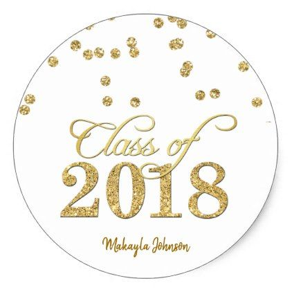 Gold polka dots glitter class of 2018 graduation classic round sticker round stickers