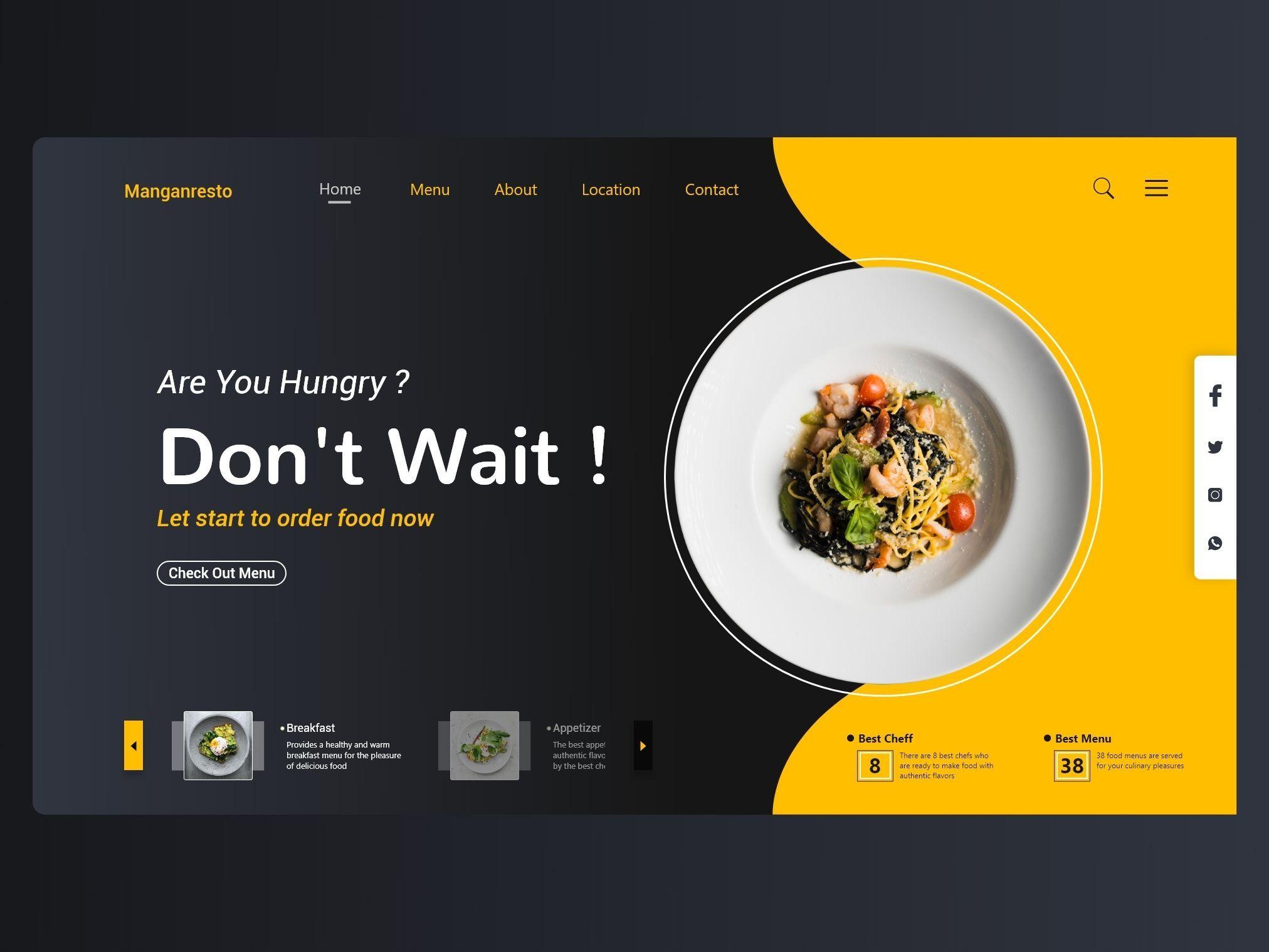 Concept of website restaurant design - Concept of website restaurant design  by Mustofa Amar   Food website design, Food web design, Restaurant website  design