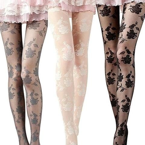 45a00d262c5 Hot Women Fashion Rose Pattern Tight Lace Pantyhose Sexy See-through  Stockings. Visit. March 2019