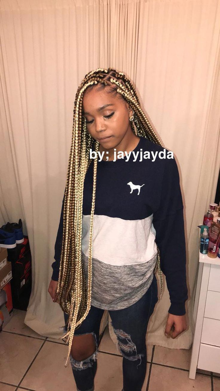 Box Braids With Color Hairstyles